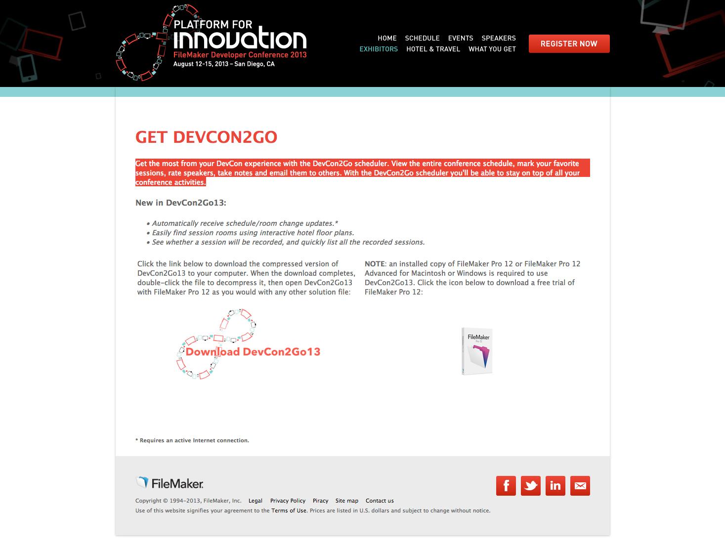 Filemaker free devcon2go scheduler 2013 by filemaker devcon friedricerecipe Image collections